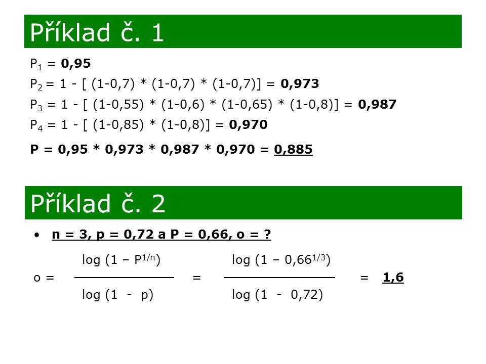 Příklad č. 1 P1 = 0,95. P2 = 1 - [ (1-0,7) * (1-0,7) * (1-0,7)] = 0,973. P3 = 1 - [ (1-0,55) * (1-0,6) * (1-0,65) * (1-0,8)] = 0,987.